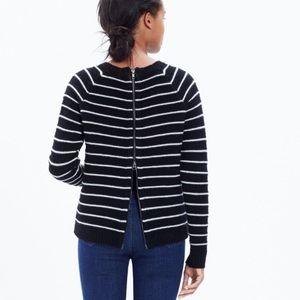 Madewell Back Zip Striped Merino Wool Sweater